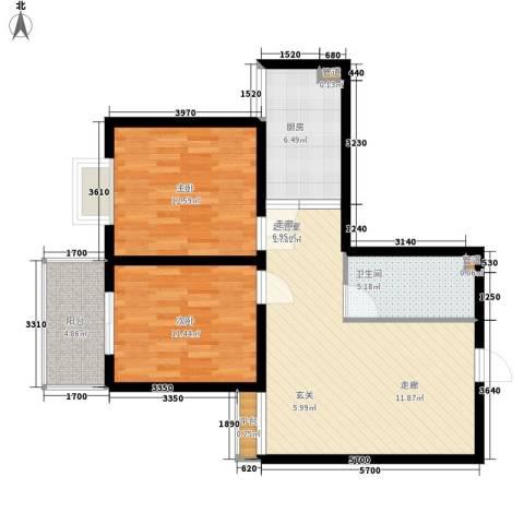 长延居会展明珠2室0厅1卫1厨76.00㎡户型图