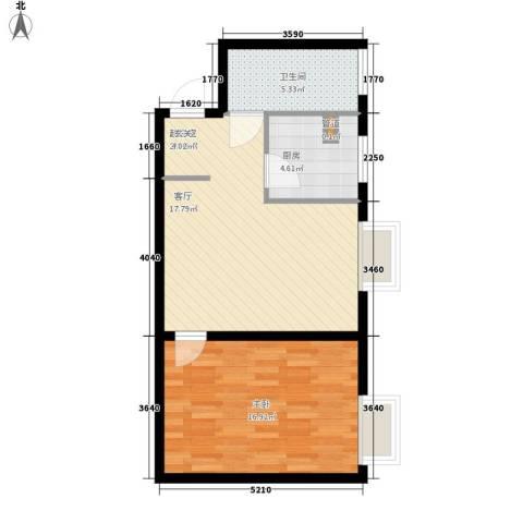 长延居会展明珠1室0厅1卫1厨54.00㎡户型图