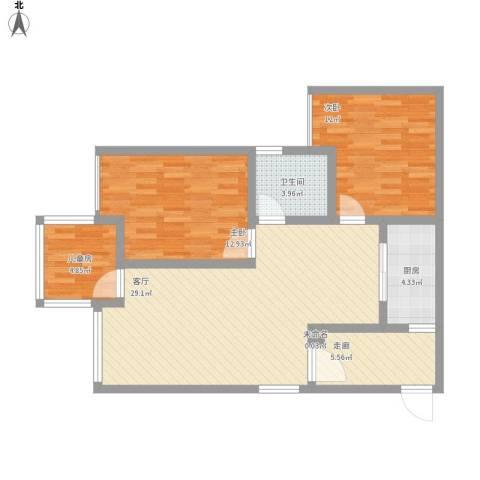 正升时代港湾3室1厅1卫1厨105.00㎡户型图