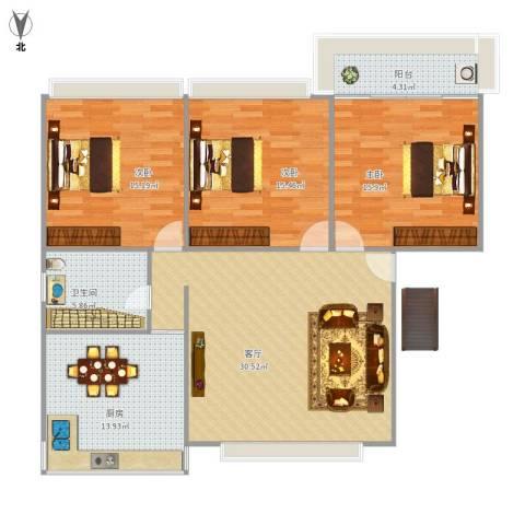 莲坂西小区3室1厅1卫1厨135.00㎡户型图