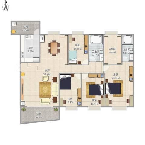 清华园4室1厅2卫1厨210.00㎡户型图