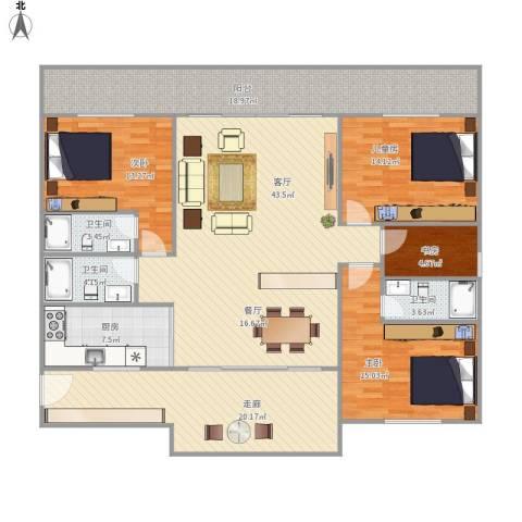 金海湾花园4室1厅3卫1厨159.44㎡户型图