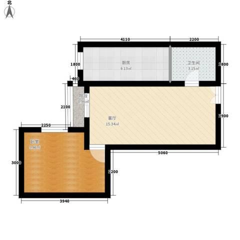 都市朝阳1厅1卫1厨52.00㎡户型图