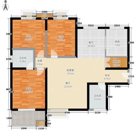 金泰假日花城3室0厅2卫1厨132.00㎡户型图