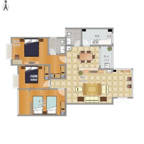 滨江花园2室1厅2卫1厨139.00㎡户型图