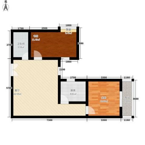都市朝阳2室1厅1卫1厨88.00㎡户型图