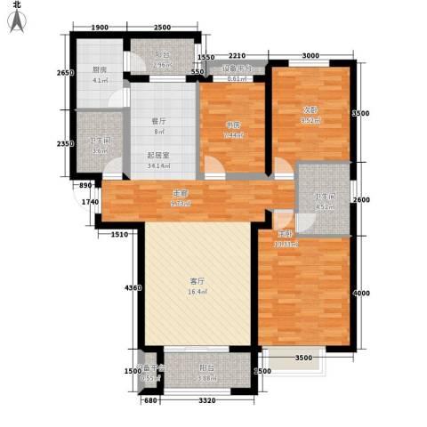 万达广场3室0厅2卫1厨123.00㎡户型图