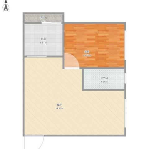 宏华大厦1室1厅1卫1厨83.00㎡户型图