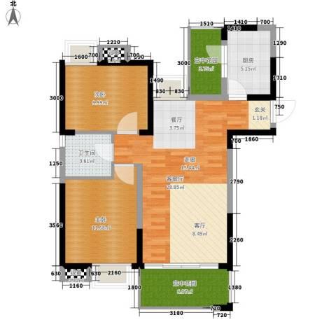新港国际花园2室1厅1卫1厨89.00㎡户型图