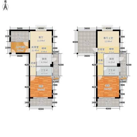 东方领秀2室0厅2卫2厨144.87㎡户型图