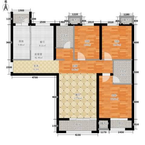 万达广场3室0厅2卫1厨140.00㎡户型图