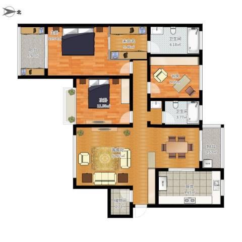 曲江诸子阶3室1厅2卫1厨156.00㎡户型图