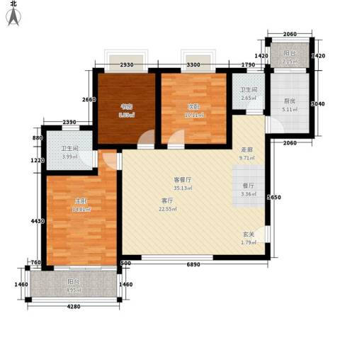 水半湾3室1厅2卫1厨122.00㎡户型图