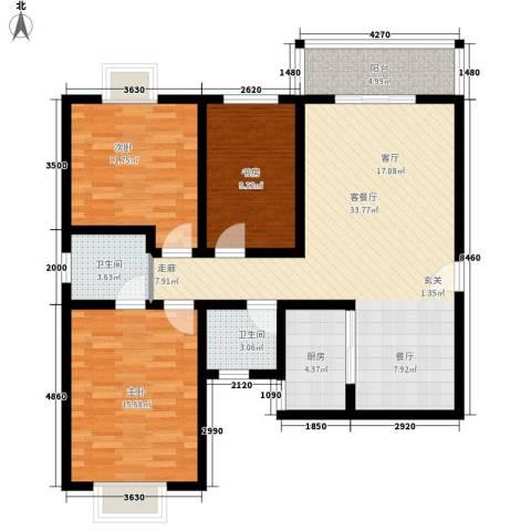 水半湾3室1厅2卫1厨120.00㎡户型图