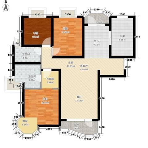 亚辰景院3室1厅2卫1厨128.10㎡户型图