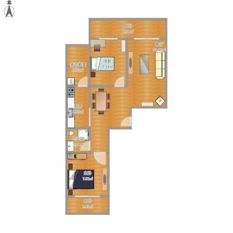 万象春天2室1厅1卫1厨74.00㎡户型图