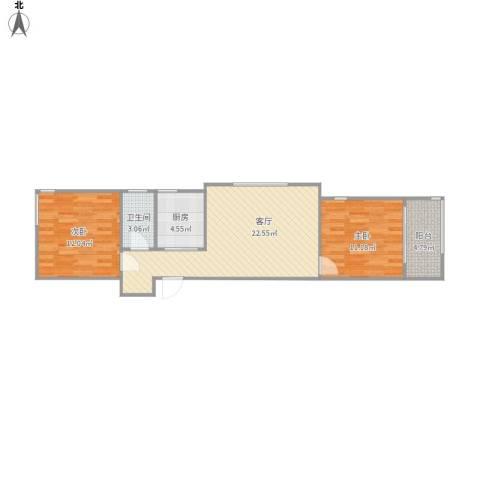 东域美墅2室1厅1卫1厨79.00㎡户型图