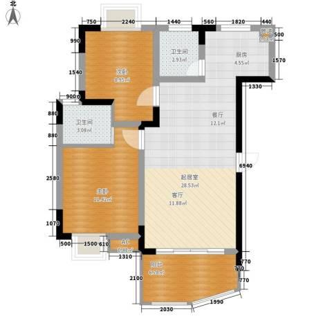 金银苑2室0厅2卫0厨66.00㎡户型图