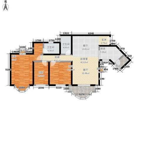 祈福新村晓峰园3室0厅2卫1厨128.00㎡户型图