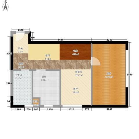 观城1室1厅1卫1厨62.00㎡户型图