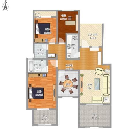 正商红河谷3室1厅2卫1厨172.00㎡户型图