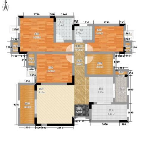 鲁能领秀城3室1厅2卫1厨97.34㎡户型图