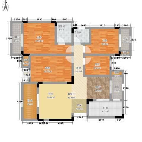 鲁能领秀城3室1厅2卫1厨108.00㎡户型图