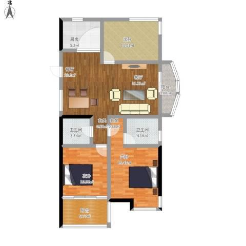康恒嘉和豪庭3室1厅2卫1厨129.00㎡户型图