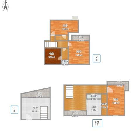 真北一街坊4室1厅2卫1厨100.00㎡户型图