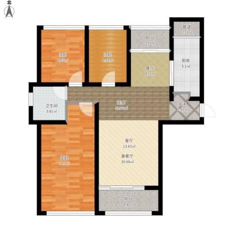泰峰金谷园3室1厅1卫1厨118.00㎡户型图