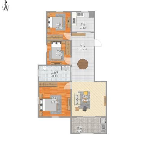 姚江上上城3室1厅1卫1厨98.00㎡户型图
