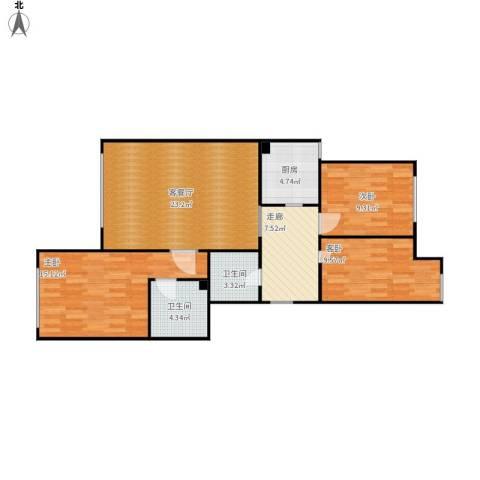 金地经典3室1厅2卫1厨103.00㎡户型图