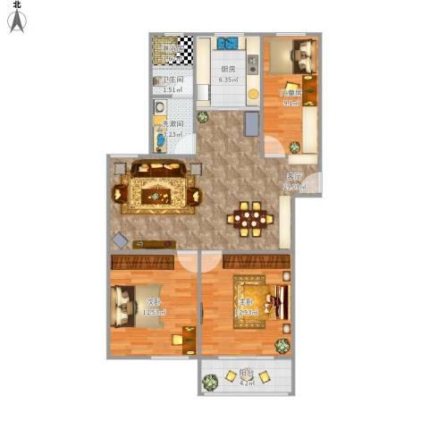 香堤雅郡3室1厅1卫1厨109.00㎡户型图