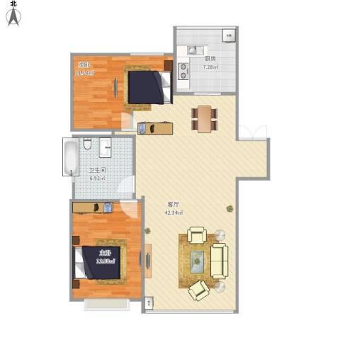 新希望家园2室1厅1卫1厨107.00㎡户型图
