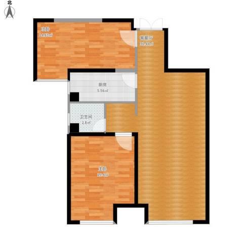 华远海蓝城2室1厅1卫1厨104.00㎡户型图