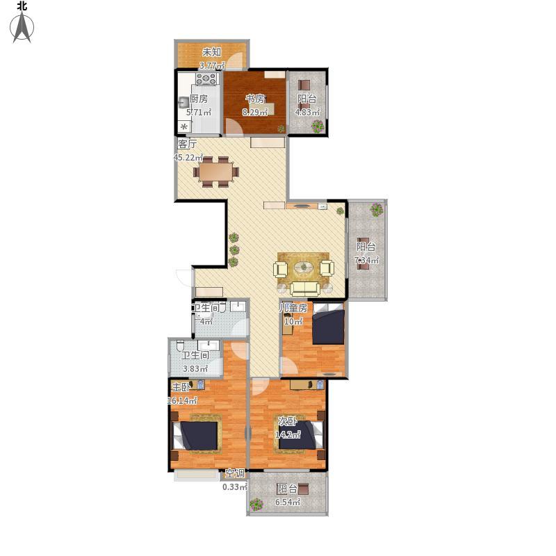 D区A户型4房2厅2卫(原图源自腾讯房产--尺寸不精准不靠谱仅供参考)