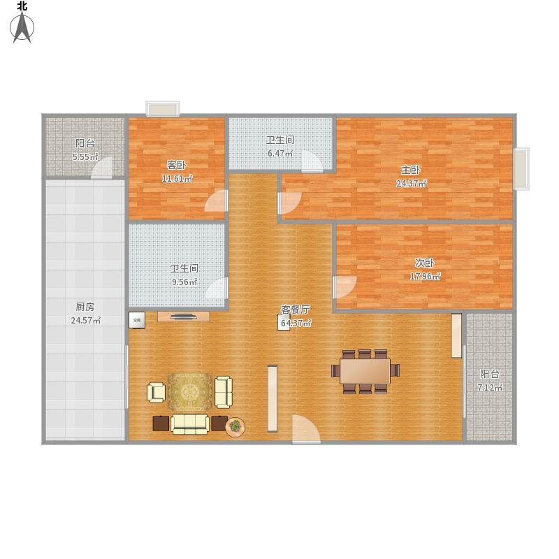 大信花园三室户型图