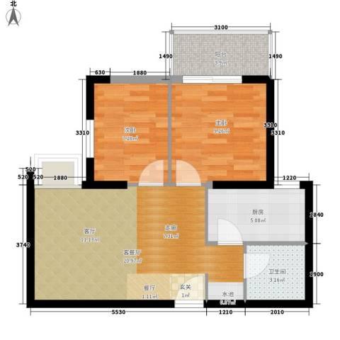 华城国际2室1厅1卫1厨70.00㎡户型图