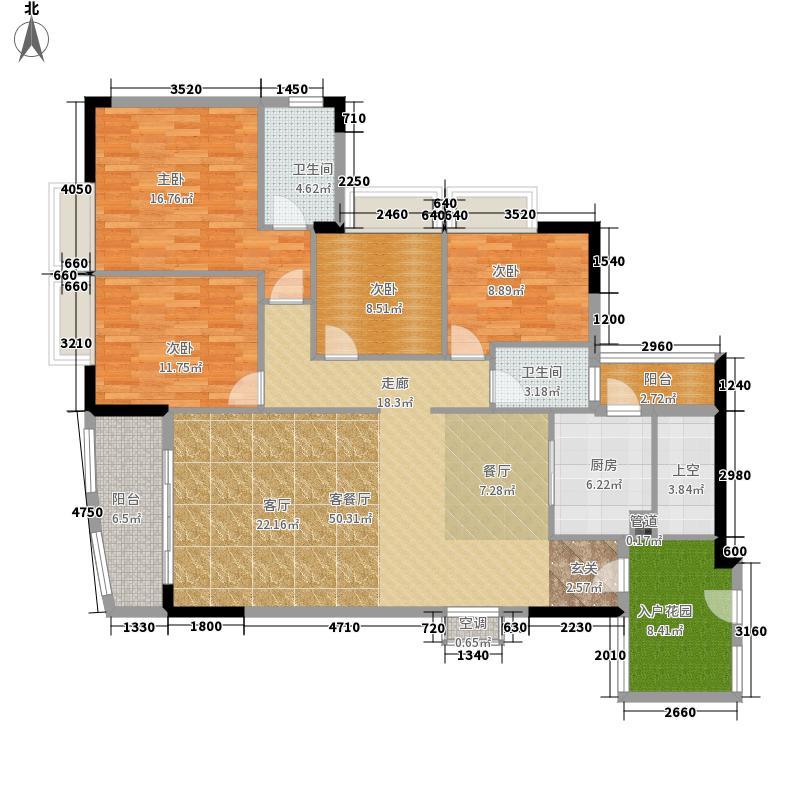瑞安花园148.10㎡2―29层03单元4室户型