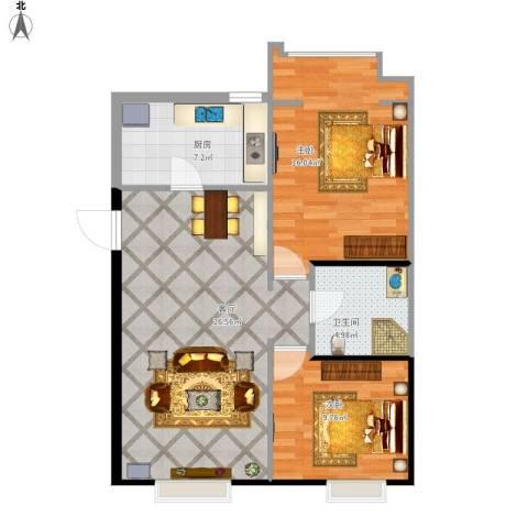 亿城通山水庭院2室1厅1卫1厨88.00㎡户型图