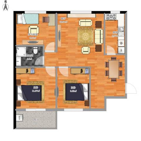 太铁北河湾2室1厅1卫1厨100.00㎡户型图