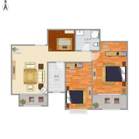 四季名门城市公寓2室1厅1卫1厨101.00㎡户型图