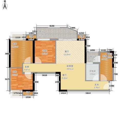翠城花园3室0厅1卫1厨95.00㎡户型图