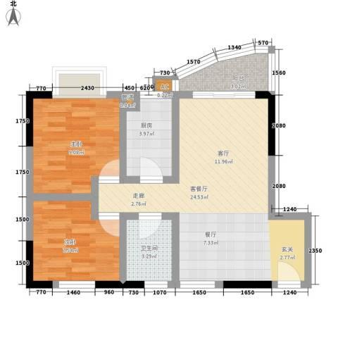 侨英花园2室1厅1卫1厨73.00㎡户型图