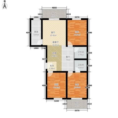 安驰国际3室1厅2卫1厨143.00㎡户型图