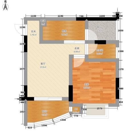 侨英花园1室1厅1卫1厨55.00㎡户型图
