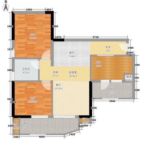 翠城花园2室0厅1卫1厨88.00㎡户型图