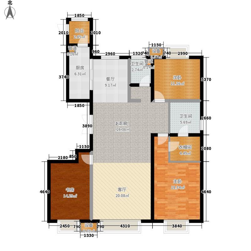 中冶江山如画3室2厅2卫1厨168.65㎡户型3室2厅2卫