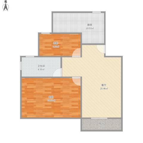 浦江世博家园九街坊2室1厅1卫1厨98.00㎡户型图