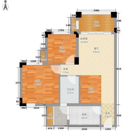 南沙碧桂园2室0厅1卫1厨86.00㎡户型图